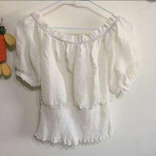🚚 白色露肩雪紡上衣#九月女裝半價