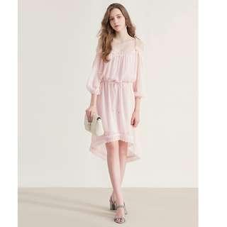 氣質 粉色 雪紡洋裝 全新