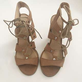 Tan leather laces sandal heels