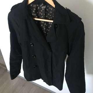 H&M Black Thin Short Trench Coat