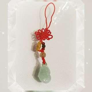 緬甸玉 淺綠色 吉祥如意 富竹 配 一顆招财 金髮晶 吊掛飾一條 JT-100