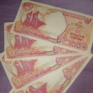4 lembar Uang 100 rupiah kapal pinisi emisi 1992  uang mulus baru silahkan