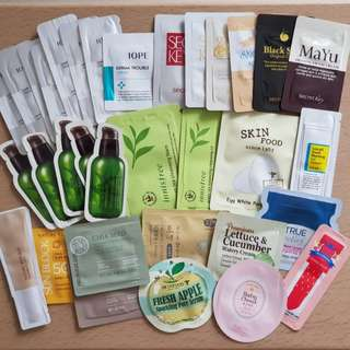 Assorted Korean Skincare Samples (IOPE Laneige Innisfree Skinfood Natural Republic The Face Shop Whamisa Etude House COSRX Curel Secret Key)