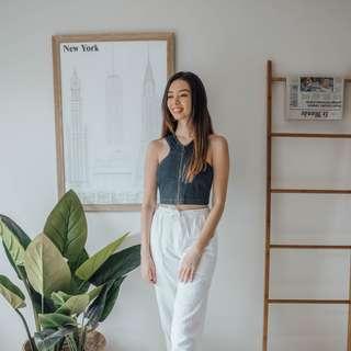Finders Keepers - Denim Zip Up Top ✧ Tara Milk Tea