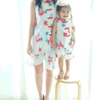Twinning cheongsam with ruffle bottom