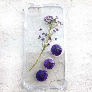 Ultraviolet real pressed flower phone case