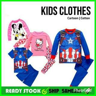 🔥READY STOCK🔥Superhero Kids Cloth Pajamas Long Short Sleeve Pant Suit🔥