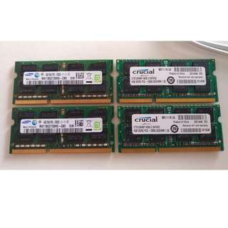 DDR3 4GB Laptop RAM (Samsung and Crucial)