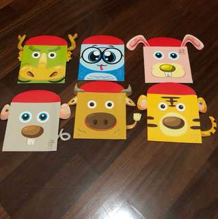 Cute Animal Red Packets for Children. 6 designs in a packet