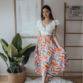 Anthropologie - Blue Orange White Grey Stripe Pleat Skirt ✧ Tara Milk Tea