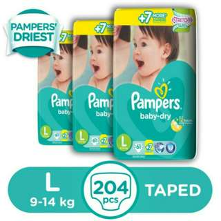 Pampers Baby Dry L 68s - 3 packs