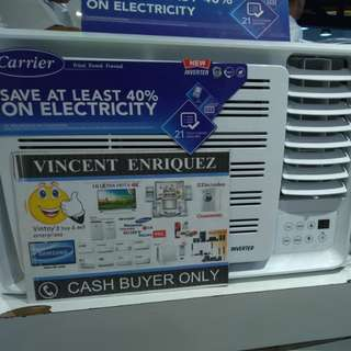 Carrier 1hp full dc INVERTER window type aircon wcarh009eev