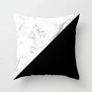 Black & Marble Triangles Pillow Cushion Cover