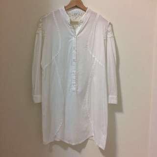 白色蕾絲長版襯衫