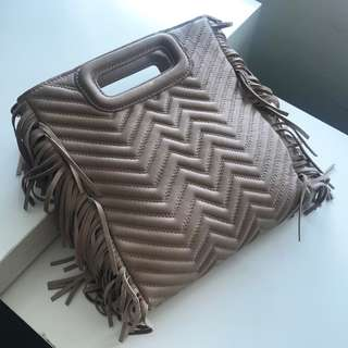 【maje】Quilted Leather M Bag Nude 三用袋 流蘇 猄皮