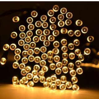 100 LED 2 Light Modes Waterproof Solar Fairy Lights String for Outdoor Gardens Homes Christmas Lighting Party (Warm White)