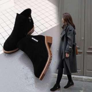 Velvet black ankle boots
