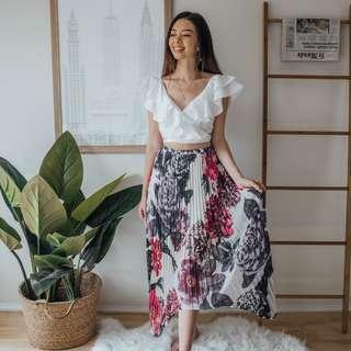 Keepsake the Label - White & Purple Floral Skirt ✧ Tara Milk Tea