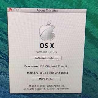 Apple iMac 21.5吋 2.9 i5 1TB HD 4K Retina 8G
