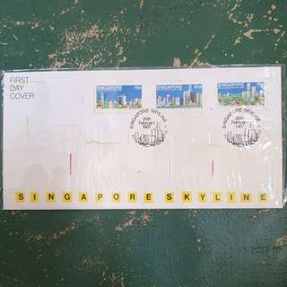 15× Singapore skyline first day cover FDC 1987