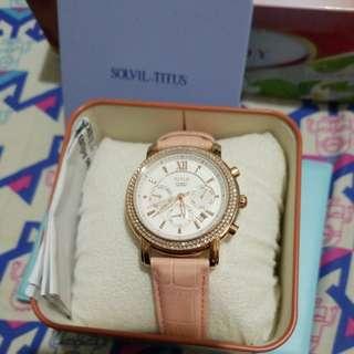 正品 Titus 鐵達時粉紅色水晶 機械上鏈 錶 Pink Watch Cystals