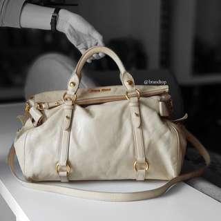 Authentic Miu Miu Leather Vitello Lux Top Handle / Sling