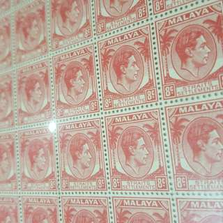 1940 rare King george VI Malaya straits settlements 8c scarlet full 10x10 stamp sheet stampsheet