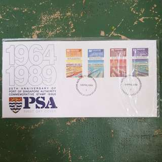 14× 1964 1989 25th anniversary of port of Singapore authority PSA commemorative stamp issue first day cover FDC
