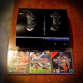 Playstation PS3 #少用90%新# 黑色主機# 2個黑色手制# 1條HTMI線# 無盒# 送3隻遊戲碟