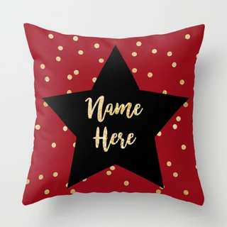 Personalised Red Star Polka Dots Throw Pillow Cushion Cover