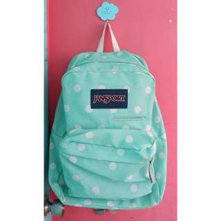 Authentic Jansport backpack bag polkadots tiffany blue mint green teal turquoise