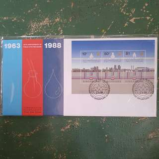 12× 1963 1988 25th anniversary of public utilities board pub Singapore power SP commemorative stamp issue first day cover FDC