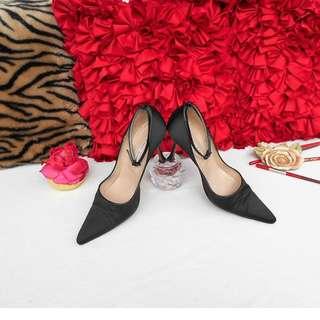 MANOLO BLAHNIK Black Satin Ankle-strap Heels