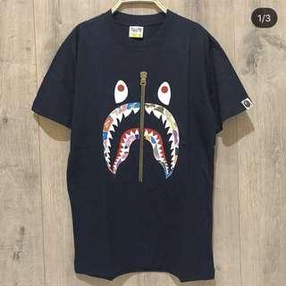 T-shirt BAPE shark camo navy blue