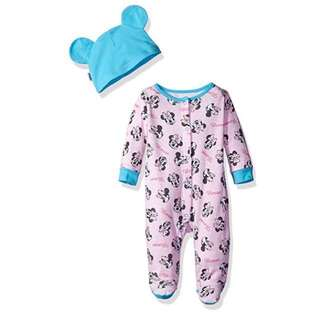 SALE 70% - 6-9 Mths BNWT Authentic Disney Store baby girls Minnie Mouse long sleeve sleepsuit & hat set