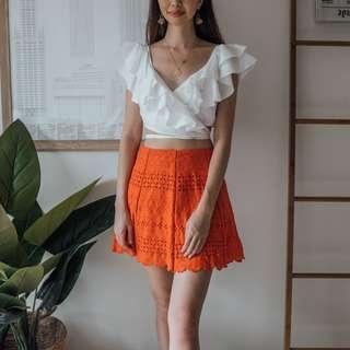French Connection - Coral Coloured Mini Skirt ✧ Tara Milk Tea