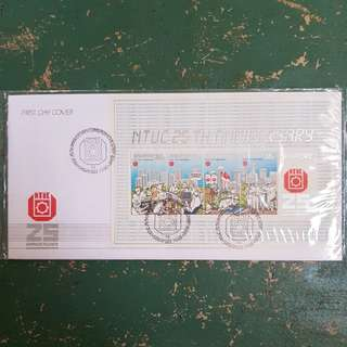 6× ntuc 25 th anniversary first day cover FDC commemorative stamp issue 1986