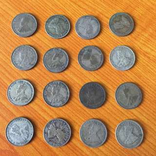 Straits Settlements 1918 to 1926 silver 10 cents coins (16 pc)
