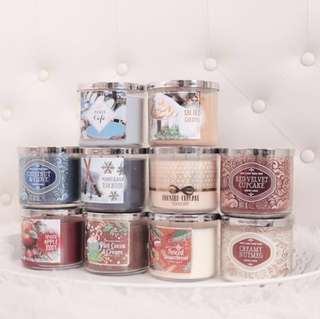 Bath & Body Works 3 Wick Candle — scents: Paris cafe / Salted caramel / Chestnut & clove / Mahogany teakwood / Frosted cupcake / Red velvet cupcake / Spiced apple tody / Hot cocoa & cream / Spiced gingerbread / Creamy nutmeg / BBW