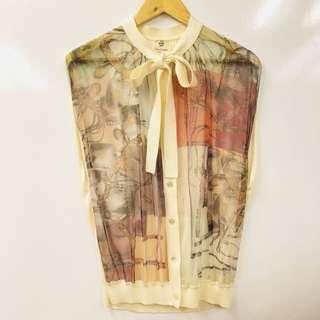 Hermes Paris silk with cotton vest cardigan size 36