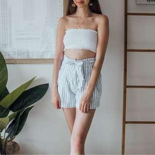 French Connection - Blue White Linen Shorts ✧ Tara Milk Tea