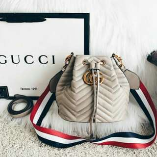 Gucci GG Marmont Chevron Quilted Bucket Bag