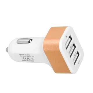 Universal 12V 24V To 5V USB Car Charger Adapter (Gold)