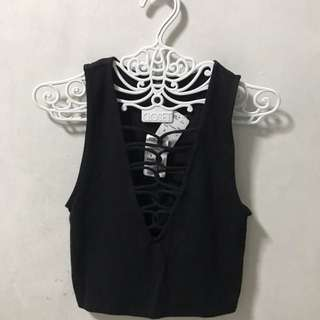 F21 black knit crop top