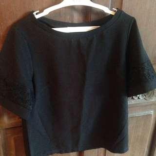 Black Loose Laced Sleeve Top