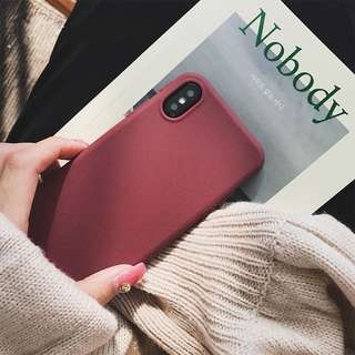 Subtle matte burgundy red plastic phone case iPhone X