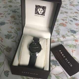Anne Klein women's black leather watch