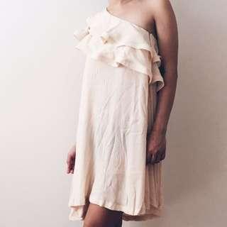 Off shoulder cream dress