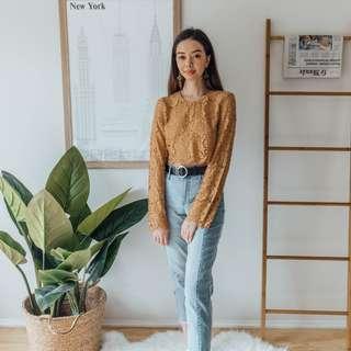 NA-KD - Yellow Lace Top Long Sleeve ✧ Tara Milk Tea
