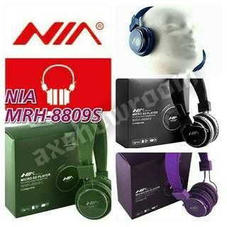 NIA Wireless Headset MRH-8809S.  Wireless FM / Built-in MICRO SD Card Player / Line-in Headphone With XBass
